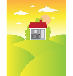 House on meadow landscape background vector