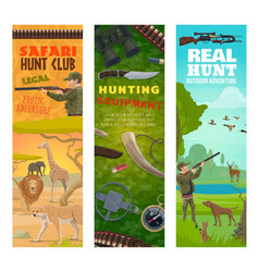 hunter hunting animal and equipment banners vector image