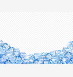 Ice cubes realistic 3d background vector