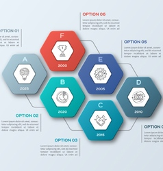 Infographic template with hexagons 6 steps vector
