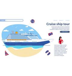 Inscription cruise ship tour vector