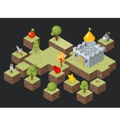 Isometric 3D game play scene vector image