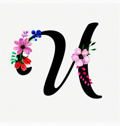 Letter u watercolor floral background vector