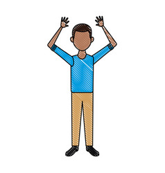 man in casual clothes gesture hands standing vector image
