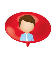 Man person inside chat bubble vector