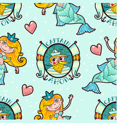 mermaid and seaman seamless pattern kawaii vector image