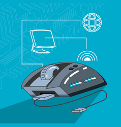 mouse device computer with set icons vector image