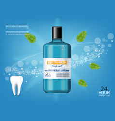 Mouthwash oral care fresh mint realistic vector