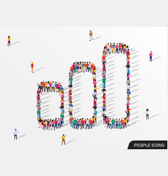 people crowd in form growing chart statistic vector image