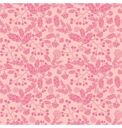 Pink silhouette flowers seamless pattern vector image