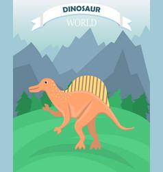 Poster with flat cartoon dinosaur vector