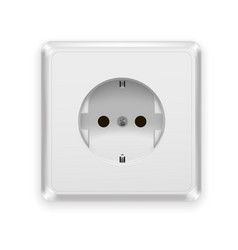 realistic plastic power socket europe type vector image