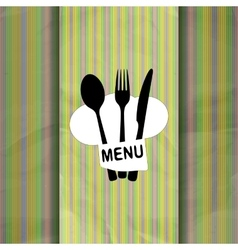 restaurant menu with chef hat chef line vector image