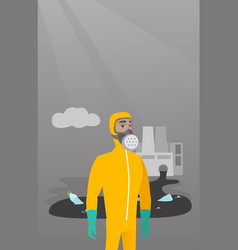 scientist wearing radiation protection suit vector image