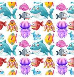Seamless background design with sea animals vector