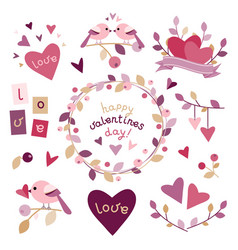set of design elements for valentines day vector image
