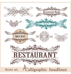 set of vintage design elements vector image