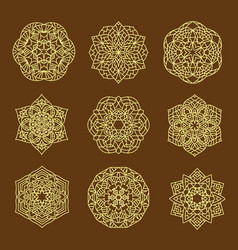 Set pattern geometric gold logo decorative arabic vector