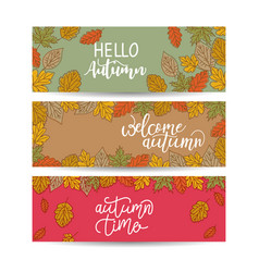 Set three nature banners with colorful autumn vector