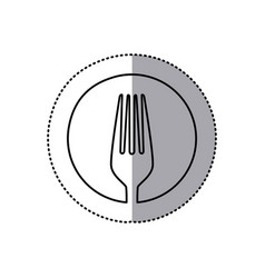 Sticker with sketch of fork in circle vector