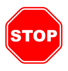 stop sign red isolated on white background vector image
