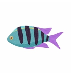 Striped tropical fish icon cartoon style vector
