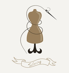Tailoring emblem with mannequin or dummy and vector