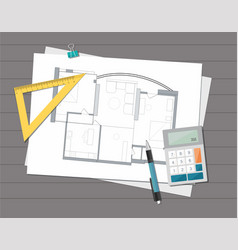 Technical project architect house plan blueprint vector