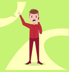 Teen boy character angry phone call male red suit vector
