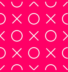 Tile x o noughts and crosses pink pattern vector