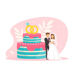 tiny couple newlyweds standing beside wedding vector image