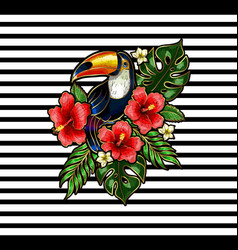toucan embroidery patches vector image