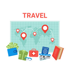 travel planning background pointers on world map vector image
