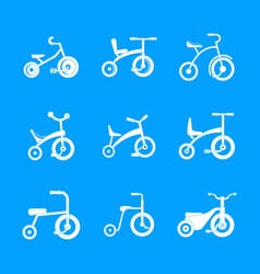tricycle bicycle bike wheel icons set simple vector image