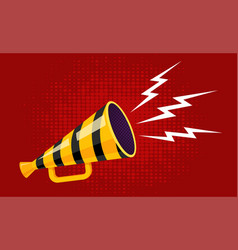 Vintage yellow megaphone with black lines vector