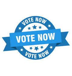 vote now ribbon vote now round blue sign vote now vector image