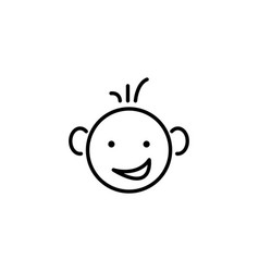web line icon smiling child fanny baby vector image