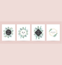 Wedding logos hand drawn elegant delicate vector