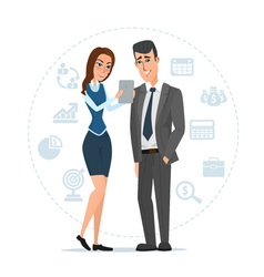 Woman and man with tablets Business cartoon vector