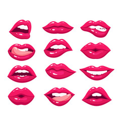woman lips red sexy mouth female pink kiss vector image
