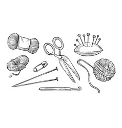 Woolen threads ball and knitting tools isolated vector