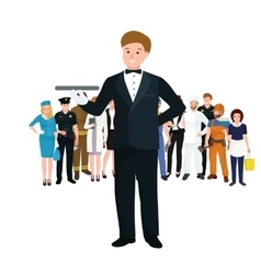 Worker waiter at restaurant isolated man with vector image