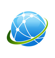 Worldwide broadband satellite swoosh symbol logo vector