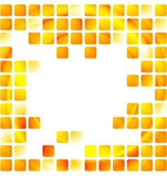 Yellow tech squares on white background vector