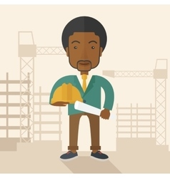 Young african construction worker holding hard hat vector