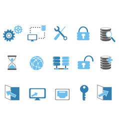 blue database technology icons set vector image vector image