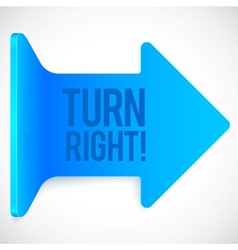 Blue realistic plastic turn right arrow vector image vector image