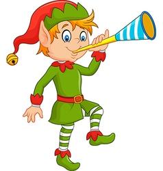 Cartoon funny elf blowing trumpet vector image vector image