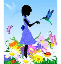 girl on lawn vector image