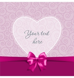 Greeting card with a bow and heart vector image
